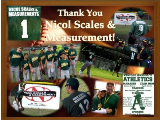 Nicol Scales & Measurement sponsors Little League Team