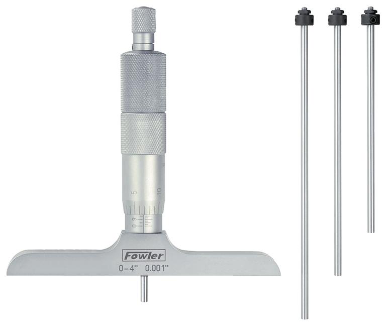 """Fowler 0 - 6"""" Premium Depth Micrometer with 2.5"""" Base 52-225-020-1"""
