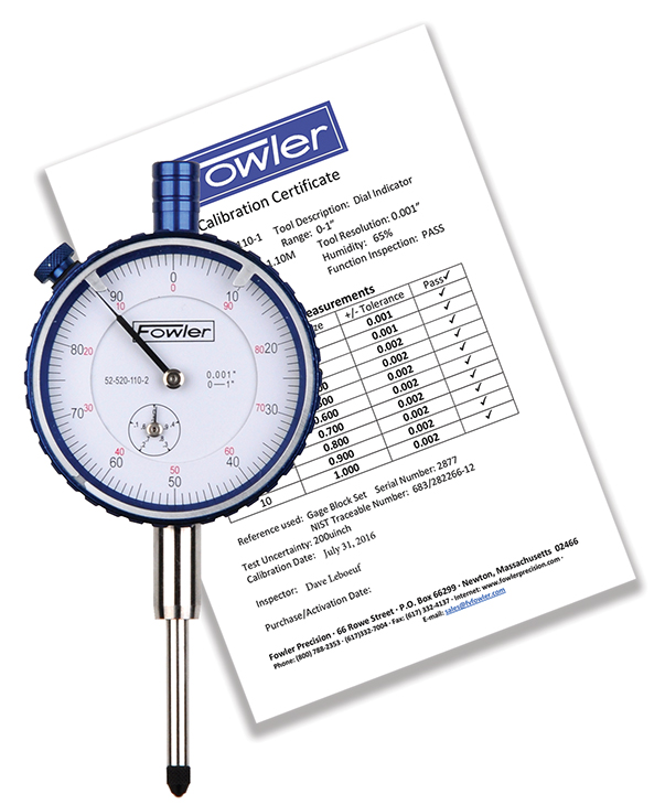 "Fowler 1"" Whiteface Premium Dial Indicator with Certificate of Calibration 52-520-110-2"