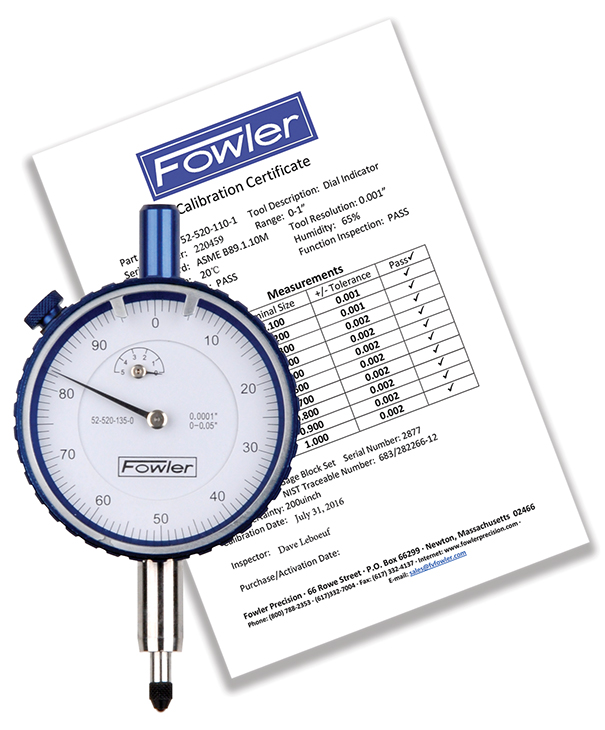 Fowler 25mm Whiteface Premium Dial Indicator with Certificate of Calibration 52-520-500-0