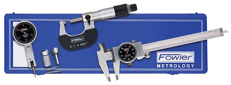 Fowler Blackface Caliper, Micrometer and Test Indicator Measuring Set 52-229-770-0